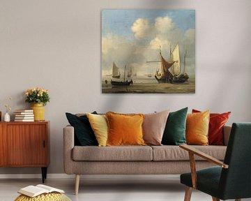 Kleine niederländische Schiffe bei Niedrigwasser auf Grund gelaufen, Willem van de Velde
