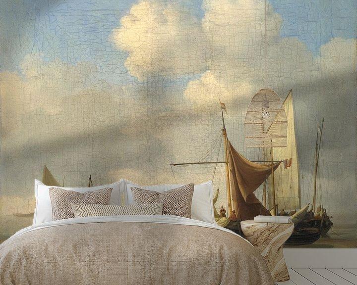 Beispiel fototapete: Kleine niederländische Schiffe bei Niedrigwasser auf Grund gelaufen, Willem van de Velde