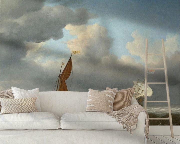 Beispiel fototapete: Ein niederländisches Schiff und andere kleine Schiffe in einer starken Brise, Willem van de Velde