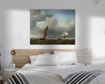 Ein niederländisches Schiff und andere kleine Schiffe in einer starken Brise, Willem van de Velde