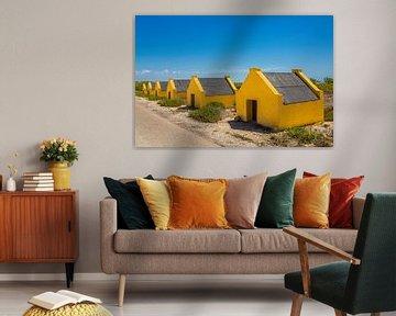 Rij met gele slavenhuisjes aan kust van het eiland Bonaire van Ben Schonewille