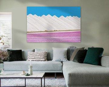 Landschap van witte bergen zout met roze zoutmeer op Bonaire