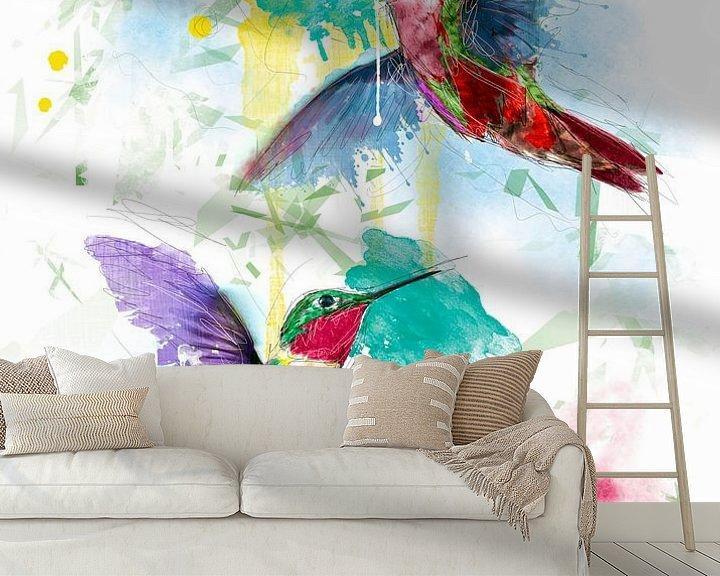 Beispiel fototapete: fröhliche Kolibris von De nieuwe meester