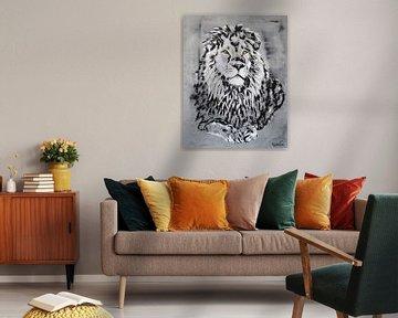 De leeuwenkoning Cecil van Kathleen Artist Fine Art