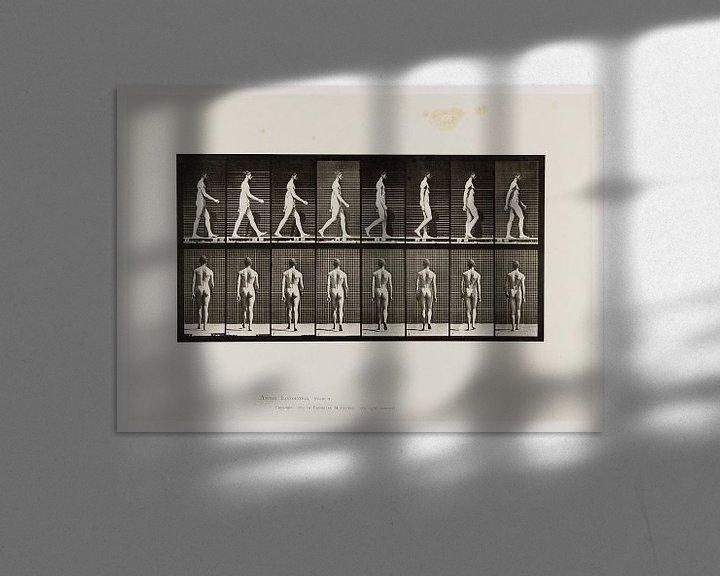 Sfeerimpressie: Oude poster van een naakte man die wandelt uit 1887 van Atelier Liesjes