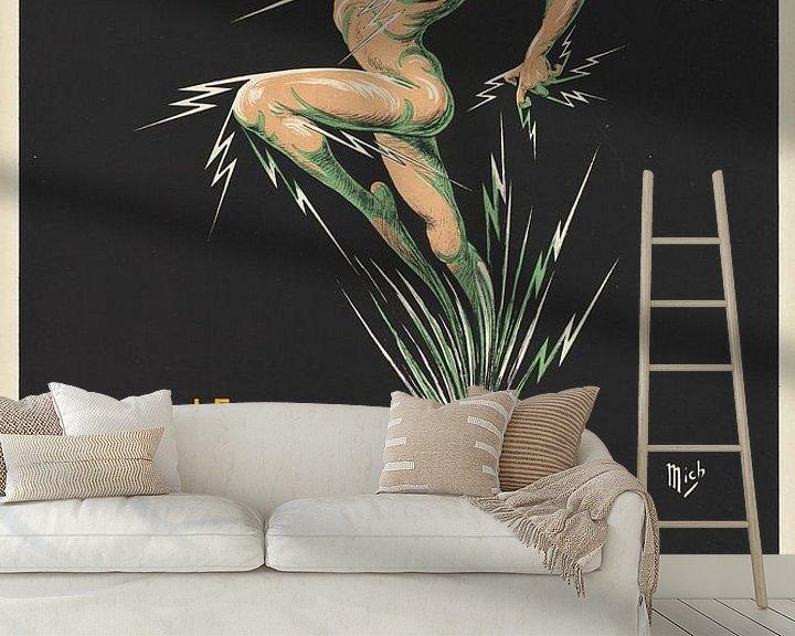 Beispiel fototapete: Nackter Sportler ausgelaufen, ein Peeling-Medikament auf einem Werbeplakat. von Atelier Liesjes