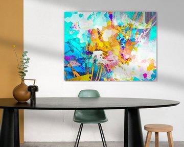 Modernes, abstraktes digitales Kunstwerk in Blau, Orange, Weiß, Pink von Art By Dominic