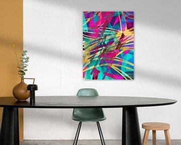 Modernes, abstraktes digitales Kunstwerk in Pink, Gelb, Blau von Art By Dominic