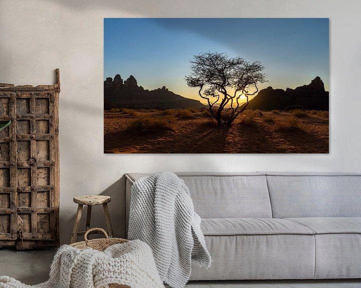 Sfeerimpressie: Woestijnboom tijdens zonsondergang van Jeroen Kleiberg