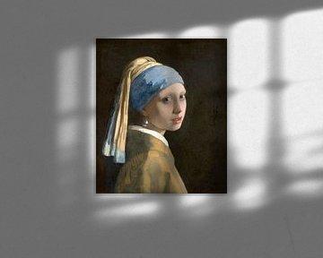 Fille avec la boucle d'oreille en perle (en image miroir) - Johannes Vermeer