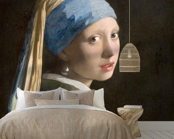 Beispiel fototapete: Mädchen mit dem Perlenohrring (spiegelbildlich) - Johannes Vermeer