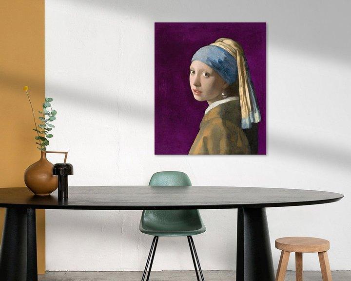 Beispiel: Mädchen mit dem Perlenohrring, violett - Johannes Vermeer