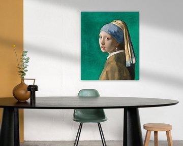 Mädchen mit dem Perlenohrring, grün - Johannes Vermeer