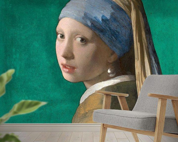Beispiel fototapete: Mädchen mit dem Perlenohrring, grün - Johannes Vermeer