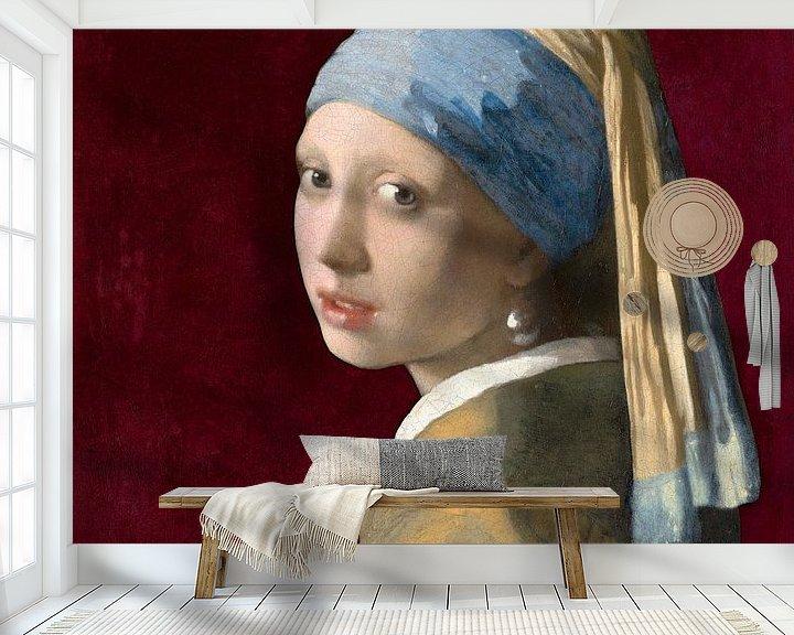 Beispiel fototapete: Mädchen mit dem Perlenohrring, burgunderrot - Johannes Vermeer