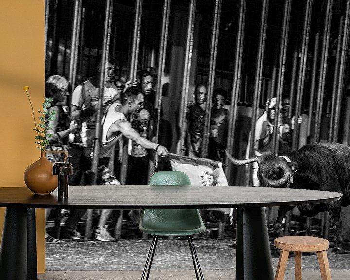 Sfeerimpressie behang: Stierengevecht van Arie-Jan Eelman