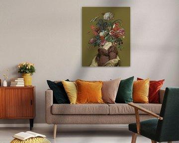 Portret van een vrouw met een boeket bloemen (oker) van toon joosen