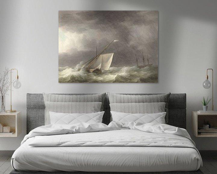 Beispiel: Zwei Segelschiffe auf stürmischer See, Martinus Schouman