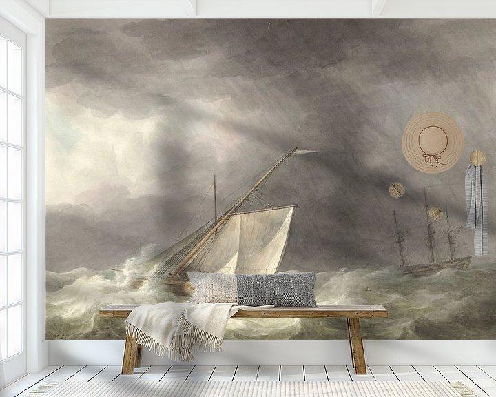 Beispiel fototapete: Zwei Segelschiffe auf stürmischer See, Martinus Schouman