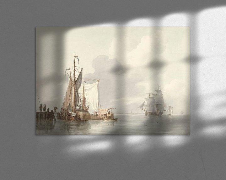 Beispiel: Flussansicht mit vertäuten Schiffen, Martinus Schouman