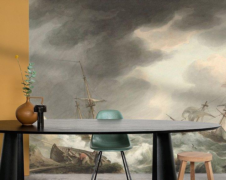 Beispiel fototapete: Schiffbruch von zwei Schiffen, eines unter amerikanischer Flagge, an einer Dünenküste, Martinus Scho