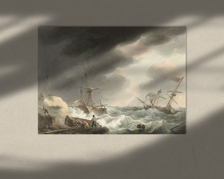 Beispiel: Schiffbruch von zwei Schiffen, eines unter amerikanischer Flagge, an einer Dünenküste, Martinus Scho