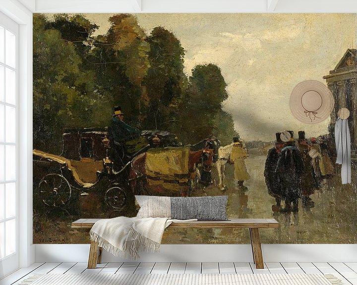 Beispiel fototapete: Kutschen und wartende Kutscher, Willem de Zwart