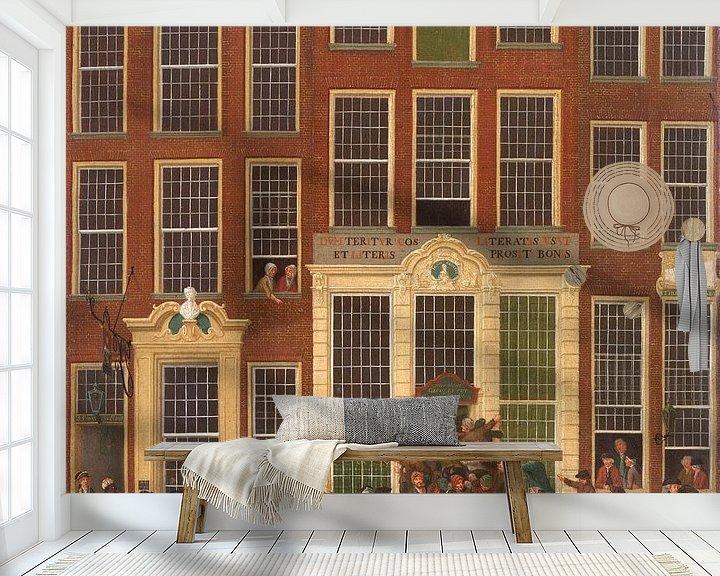 Beispiel fototapete: Die Buchhandlung und Lotterie-Agentur von Jan de Groot in der Kalverstraat in Amsterdam, Isaac Ouwat