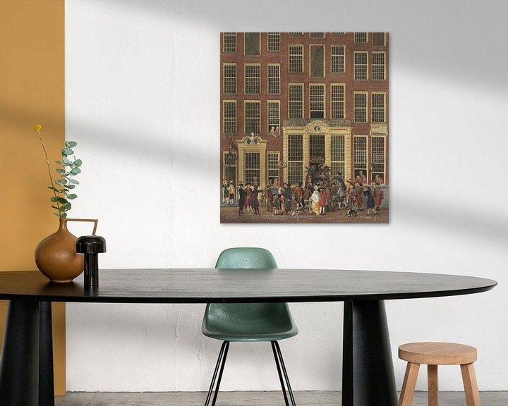 Beispiel: Die Buchhandlung und Lotterie-Agentur von Jan de Groot in der Kalverstraat in Amsterdam, Isaac Ouwat