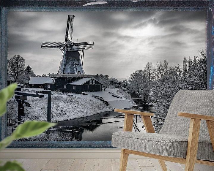 Sfeerimpressie behang: Bolwerksmolen in de winter van VOSbeeld fotografie