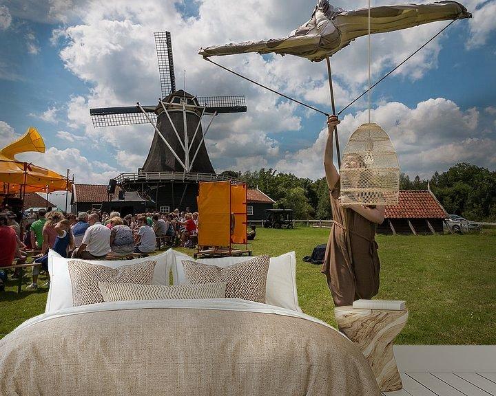 Sfeerimpressie behang: Vierkaant beeld van Bolwerksmolen bij Deventer tijdens een evenement van VOSbeeld fotografie