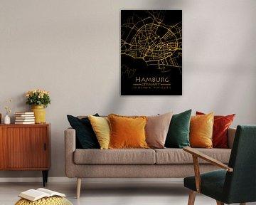 Hamburg Karte Gold  City Map von Carina Buchspies