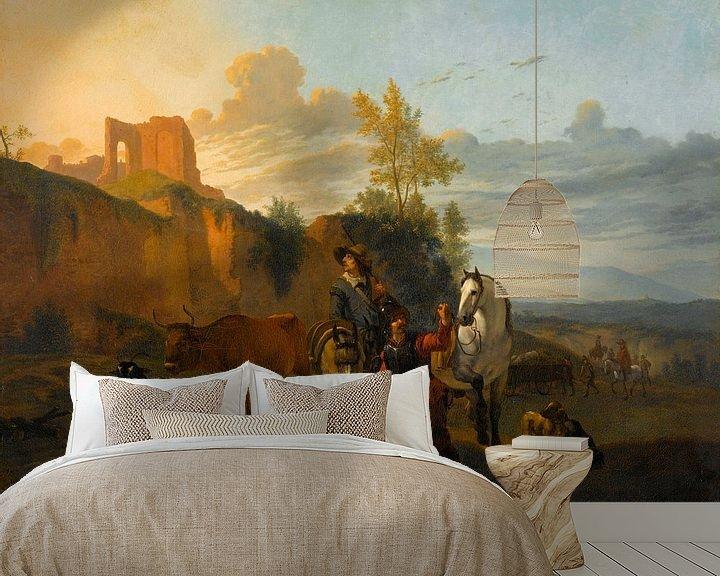 Beispiel fototapete: Italienische Landschaft mit Soldaten, Karel du Jardin (Kopie nach)