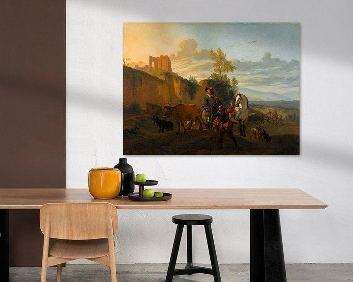 Beispiel: Italienische Landschaft mit Soldaten, Karel du Jardin (Kopie nach)