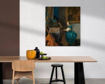 Eine junge Frau auf einem Jungfrauenstuhl, Johannes Vermeer