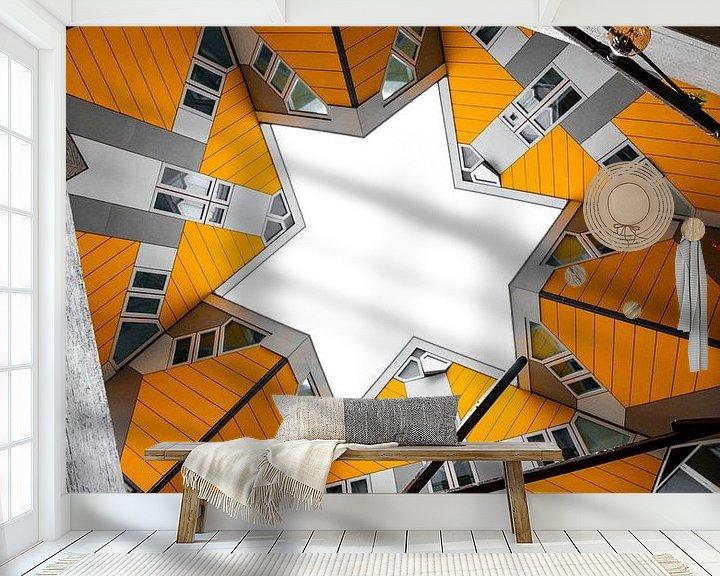 Sfeerimpressie behang: Kubuswoningen - Rotterdam van Thijs van Beusekom