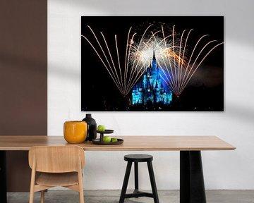 Disney-Schloss von Cinderella mit Feuerwerk