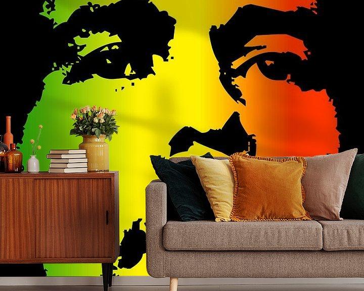 Beispiel fototapete: Bob Marley in Reggae-Farben von Atelier Liesjes