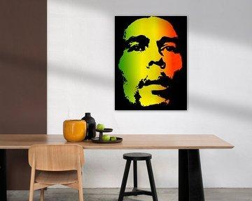 Bob Marley in reggaekleuren van Atelier Liesjes