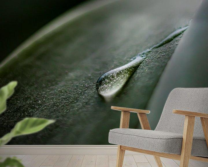Sfeerimpressie behang: Waterdruppel op een blad van Nynke Altenburg
