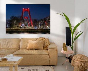De Willemsbrug in Rotterdam in de nacht (horizontaal) van MS Fotografie | Marc van der Stelt