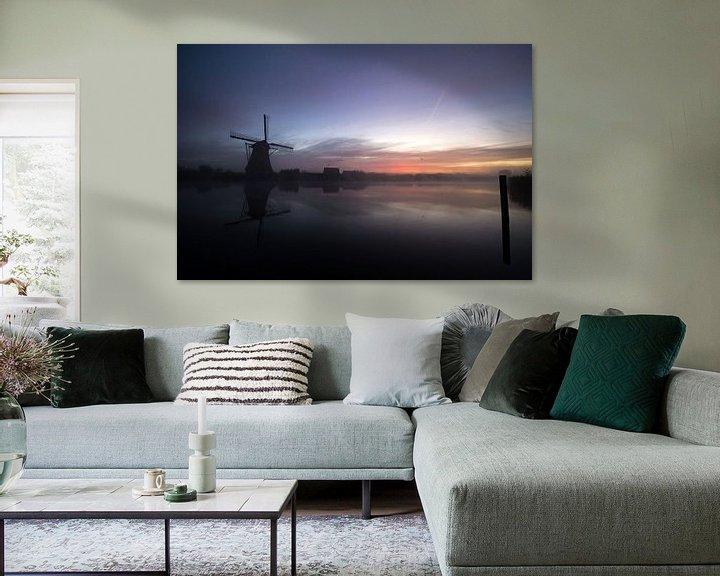 Impression: les moulins à vent du lever du soleil sur Andrea Ooms