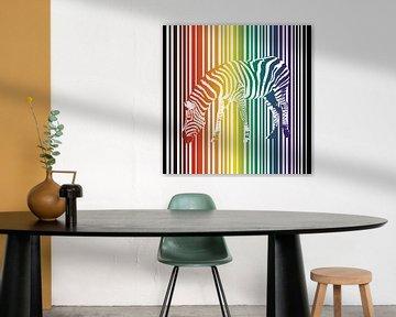 Regenboog zebra van Bianca Wisseloo