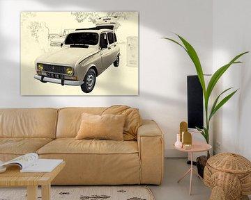 Renault 4 Poster in antique art von aRi F. Huber