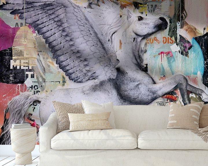 Beispiel fototapete: Fliegen Sie das weiße Pferd von Michiel Folkers