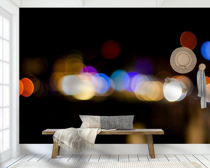 Sfeerimpressie behang: Abstract straatbeeld in de avond 4/4 van Mario Verkerk
