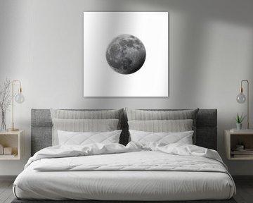 Der Mond - halb verfinstert - weiß von Mario Verkerk