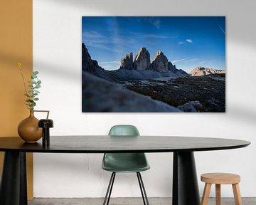 Drie pieken Dolomieten Zuid-Tirol Zonsopgang van Daniel Kogler