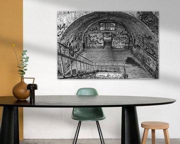 Die Treppe zum Fort Chartreuse in schwarz-weiß von Okko Huising - okkofoto