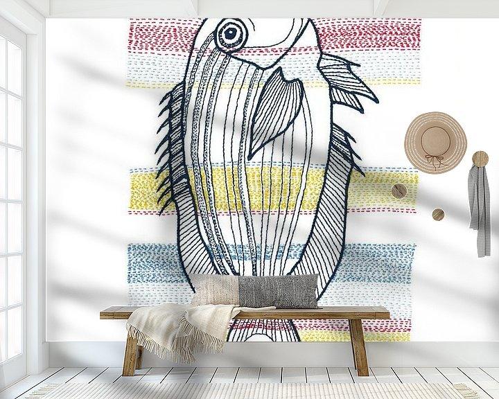 Sfeerimpressie behang: Stitches - Fish van > VrijFormaat <